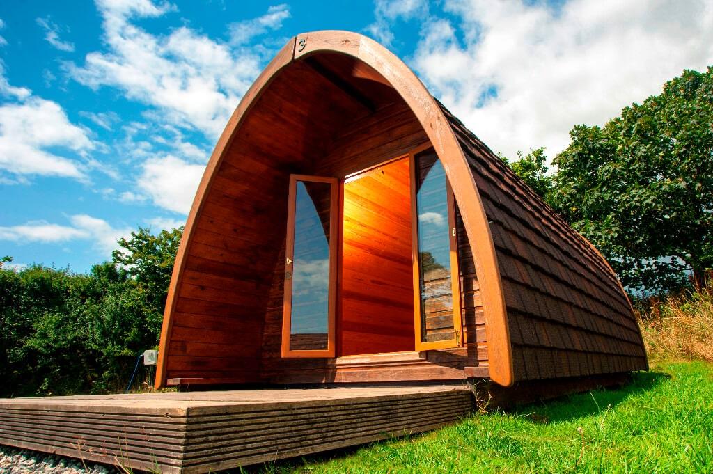 Cornwall Camping Pod Exterior Looking Inside